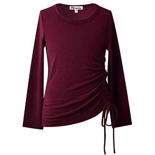 Girls Long Sleeve Shirts Tunic Tops Tee Shirt T-Shirts Side Drawstring Blouse 12 13 Burgundy