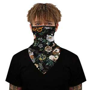 Yidarton Face Scarf Bandana Ear Loops Face Rave Balaclava Men Women Neck Gaiters for Dust Wind Motorcycle Mask