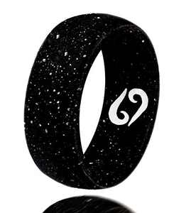 Silicone Ring Wedding Band with Birth Month Zodiac Sign Engraving Non-Metal Rings for Men & Women Promise Ring Breathable Rubber Couple Jewelry -Thumb Ring, Anniversary & Father's Day Gift - Black