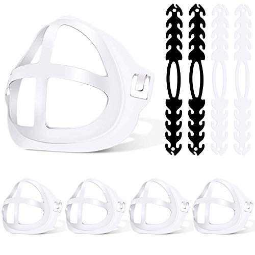 Mask Bracket for Inner Support Frame, Jornarshar 4 Pcs 3D Mask Bracket & 4 Pcs Mask Extender Strapfor Comfortable White Inner Frame Washable Reusable Protect Lipstick - 8 Pcs