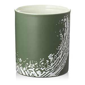 """DOWAN Kitchen Utensil Holder, 7.2"""" Large Utensil Holder for Countertop, Table-Protection Cork Mat, Ceramic Utensil Crock for Home Décor, Matte Print Design, Dark Green"""