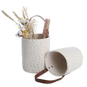 """2 Pack Wall Hanging Baskets Small, ACECHA Hanging Woven Basket Wall Decor with Leather Handle for Organizing, 7.87""""×5.9"""" (Golden)"""