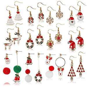 Christmas Earrings JUSTDOLIFE 12 Pairs Christmas Dangle Earrings Christmas Charm Earrings