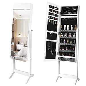 YITAHOME 2 in 1 Jewelry Cabinet Armoire Freestanding Large Storage Jewelry Organizer with 2 Drawer,3 Angle Adjustable,White