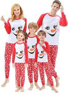 Matching Family Christmas Pajamas Sets Snowman Women Men X-mas Pjs Striped White Snow Christmas Jammies Cotton Sleepwear Holiday Clothes Size 2