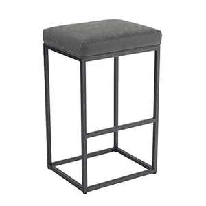 Camping World Bar Stool, Counter Height Bar Stools with Footrest, Breakfast Bar Chair of Pu Leather Backless, Kitchen Dining Cafe Chair for Indoor and Outdoor (Large, Gray)