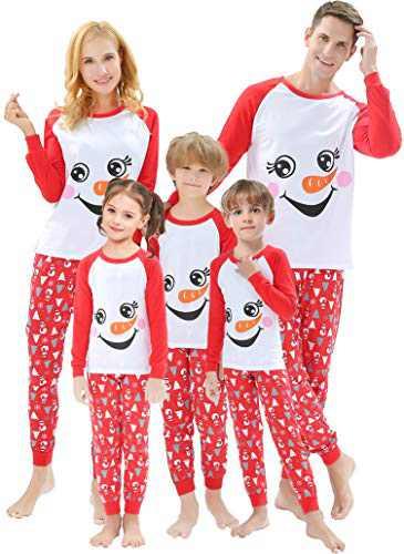 Matching Family Christmas Pajamas Sets Snowman Women Men X-mas Pjs Striped White Snow Christmas Jammies Cotton Sleepwear Holiday Clothes Size 6