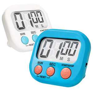 Kitchen Timer, 2 Piece Digital Kitchen Timers with Loud Alarm, Large Digits, Magnetic Base, Retractable Stand for Cooking Baking Workout Sports Games (White+Blue)