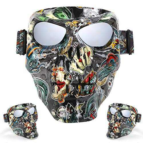Outamateur Skull Motorcycle Goggles Mask Safety Goggles UV Proof Motorbike Mask