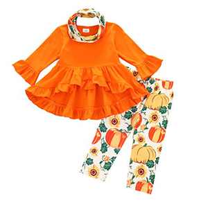 Toddler Little Girls Ruffle Flare Tunic Dress Top Striped Leggings Pants 2PC Fall Winter Outfit Set Clothes (1-2T, 3-Piece Halloween Orange Pumpkin)