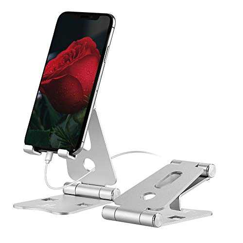 Foldable Cell Phone Stand, ToBeoneer Desk Phone Holder Adjustable Alluminum Dock Compatible with iPhone 11 Pro XR X XS Max 8 7 6 6s Plus iPad Tablet (Silver)