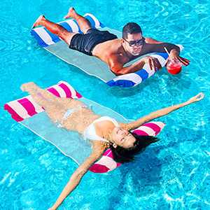 Inflatable Pool Floats for Adults - 2 Packs Portable Water Hammock Pool Floats with a Manual Air Pump, Pool Chairs to Beach, Swimming Pool