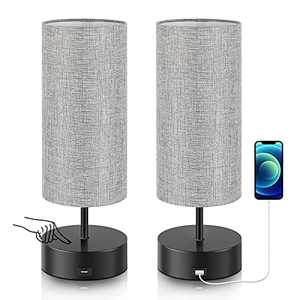 xydled Touch Control Table Lamp with USB Charging Port, Set of 2 3-Way Dimmable Modern Bedside Lamps Gray Linen Nightstand Lights for Bedroom Living Room,Office (E26 LED Bulb Included)