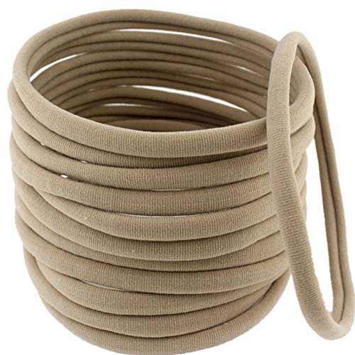 Alytimes 50 Pcs Soft Stretchy DIY Nylon Headbands for All Baby and Newborn (Khaki)