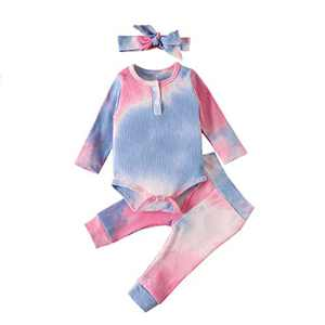 OPNEG Newborn Baby Boy Girl Tie Dye Outfits 3Pcs Long Sleeve Romper Jumpsuit Long Pants with Headband Fall Winter Clothes Pink Blue