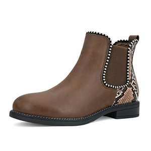 AOMO LOVE Women's Snakeprint Studded Chelsea Boots