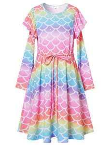 Girls Ruffle Winter Clothes Rainbow Mermaid Dress with Pockets Tie Waist Sundress 6 7