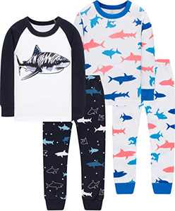 Boys Sharks Pajamas Christmas Children Cotton Sleepwear Toddler Girls Jammies Pants Gift Set Size 2