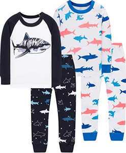 Boys Sharks Pajamas Christmas Children Cotton Sleepwear Toddler Girls Jammies Pants Gift Set Size 12