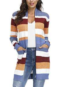 Yidarton Women's Long Sleeve Rainbow Color Block Open Front Drape Oversized Knitted Sweater Cardigan with Pockets Multicolor M