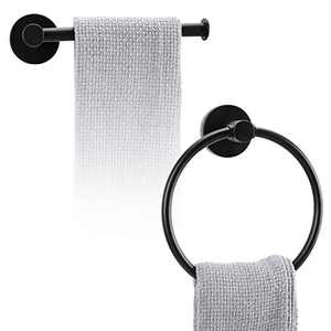 LITPRIN Bathroom Hardware Set 2,Piece Towel Ring and Toilet Paper Holder Stainless Steel Bathroom Hand Towel Holder Towel Hanger Wall Mounted Matte(Black)