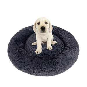 NIBESSER Calming Dog Bed, Donut Dog Bed with Removable Washable Cover, Plush Round Donut Cuddler Dog Bed Cat Cushion, Anti Anxiety Dog Bed, Comfortable Soft Pet Bed Sofa for Small Media Big Dog