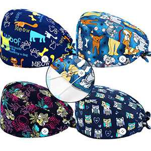 4 Pieces Printed Cotton Bouffant Caps with Buttons and Sweatband Adjustable Tie Back Hats Unisex Gourd-Shaped Caps