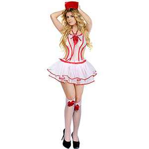 Nurse Costume Set Women Lingerie Nightwear Outfit with Stethoscope for Cosplay Christmas Honeymoon Valentine's Day