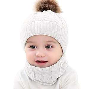 NCONCO Newborn Baby Hat + Neckerchief, Baby Girls Boys Winter Knit Hat, Warm Cozy Cap Scarf