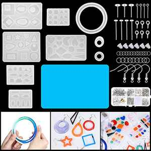 718 Pieces Earring Resin Molds Set, Include Silicone Earring Molds Epoxy Resin Jewelry Molds 68 Pcs Earring Epoxy Molds and 650 Pieces Earring Hooks, Jump Rings for Jewelry Pendants DIY Earring