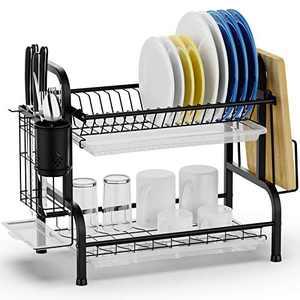 Dish Drying Rack, Swedecor Dish Rack Rustless Dish Drainer with Utensil Holder and Drain Board, Black