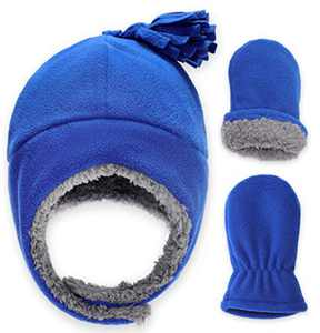 Baby & Toddler Sherpa Lined Fleece Winter Hat & Mitten Set - Warm Snow Trapper Pom Hat & Gloves for Infant Kids, Boys & Girls