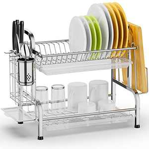 Dish Drying Rack, Swedecor Dish Rack Rustless Dish Drainer with Utensil Holder and Drain Board, Silver