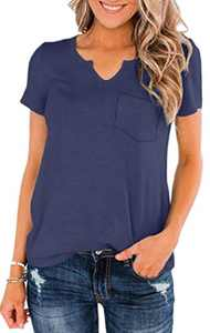Womens Summer V Neck Short Sleeve Basic Tees Solid Casual T-Shirts Tops with Pocket Blue S