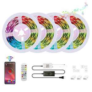 100ft/30m 5050 RGB LED Strip Lights, Bluetooth led Strip Light, Controlled via Smart app, Sync with Music, led Strips are Ideal Decoration for Bedroom,Home, bar and Party(100ft)