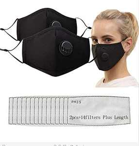 Upgrade Reusable Mouth Fabric Covers with Valve Adjustable Strap,Washable Cotton With Replaceable Activated Carbon(2pcs+14fil)