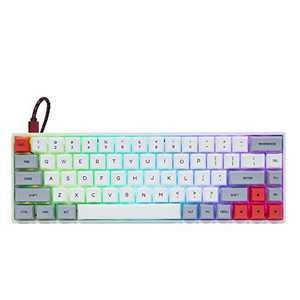 EPOMAKER GK68XS 68 Keys Hot-swap RGB Bluetooth5.1 Wireless/Wired Mechanical Keyboard with Split Spacebar Module, 1900mAh Battery, Dye-subbed PBT GSA Keycaps (Gateron Blue Switch, Grey White)