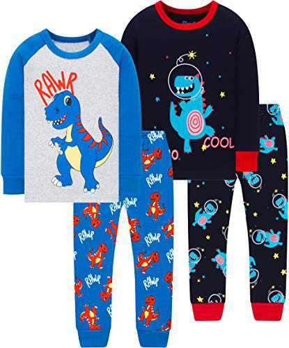 Little Boys Spacecraft Pajamas Christmas Children Dinosaurs Sleepwear Girls Long Sleeve Clothing Set Size 7