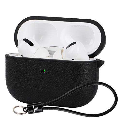 AirPods Pro Leather Case with Strap,Airpods 3 Premium Leather Case,Portable Protective Shockproof Headphone Leather Case for AirPods Pro,[LED Visible],[Support Wireless Charging](Black)