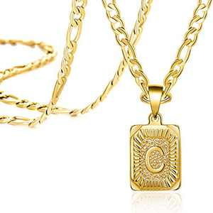 Long Necklaces for Women Men Teen Girls Boys Mom Dad Christmas Gifts Daughter Son 18K Real Gold Initial Letter C Stainless Steel Long Figaro Chain Monogram Fashion Trendy Pendant Medallion