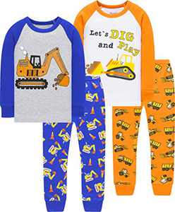 Boys Christmas Truck Pajamas Children Excavator Printed Jammies Kids Cotton Sleepwear Girls Gift Set Size 5