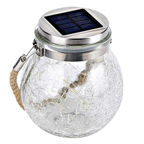 Solar Ball Light Hanging Outdoor Garden Cracked Glass Waterproof Globe Lamp Lighting with Handle Size Bigger for Patio Pathway Christmas Party