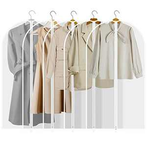 "Houzemann Garment Bags, Pretty Handy Set of 5 Breathable Suit Covers Storage Bag with Full Zipper, Closet Garment Cover, Semi Transparent Travel Cloth Bag for Suit, Dress, Clothes, Pants (47"")"