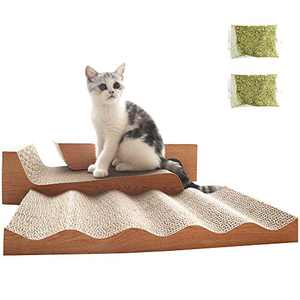 RUMUUKE 3 Packs Cat Scratcher Corrugated Scratch Pad Lounge Sofa Bed Paper Cardboard Cat Scratching Toys, Catnip Included (Wood)