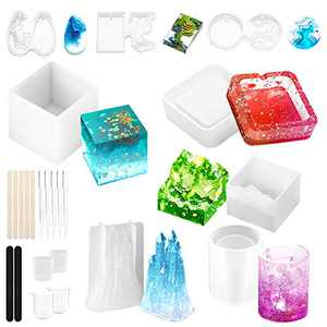 Epoxy Resin Molds 25Pcs Resin Silicone Mold Kits Large Castle Pen Holder Square Small Mountain Peak Jewelry Round Oval Rectangle Pendant Molds WEHVKEI Art Supplies Mold Kit with Measuring Cup Pipette