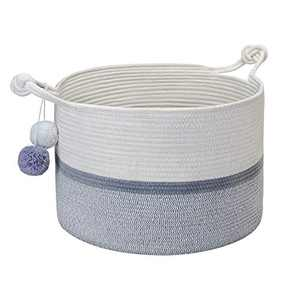 """XMWEALTHY Large Cotton Rope Basket 22"""" x 22"""" x 14"""" Baby Laundry Basket for Blankets Dog Toy Baskets with Handle Natural Woven Storage Basket Laundry Hamper"""