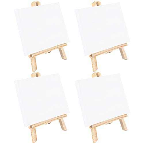 Jekkis 4 Packs Tabletop Easel Canvas Sets, 14 x 8.7 Inches Wooden Painting Easels and 10 x 8 Inches Canvas, Display Painting Set