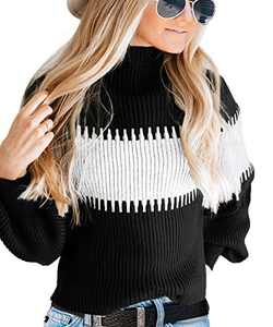Risesun Womens Color Block Casual Knit Pullover Sweaters Balloon Sleeve Mock Neck Patchwork Jumper Tops (Black-L)