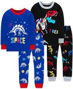 Boys Spacecraft Pajamas Children Christmas Colors Dinosaurs Skeleton Sleepwear Cute Girls Clothing Set Size 2
