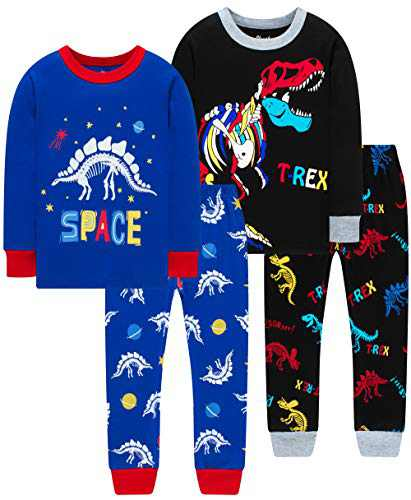 Boys Spacecraft Pajamas Children Christmas Colors Dinosaurs Skeleton Sleepwear Cute Girls Clothing Set Size 7